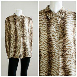 Valentino Miss V Tiger Animal Print Silk Blouse